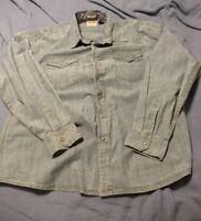 New Wrangler Long Sleeve Denim Shirt Bleached Indigo Slim Fit Men's Size 3XL B36