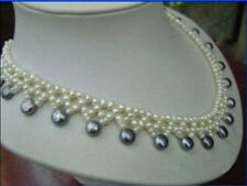 Beautiful south sea Knitting black + white pearl necklace 18 INCH 14K gold clasp