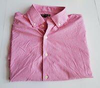 PETER MILLAR Summer Comfort Button Down Shirt Mens Sz XL Pink Gingham  75-20