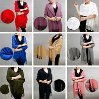 Women Warm Cashmere Silk Solid Long Pashmina Shawl Wrap Scarf Tassel Stole