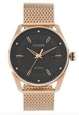 Citizen Eco-Drive Watch * Solar Gray Date Dial Rose Gold Steel Mesh BM6983-51H