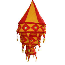 Lampe suspendue fluorescente Lampion abat-jour en coton rouge orange 3 S