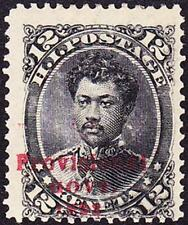 HAWAII - 1893 - 12 Cents Black w/ Red Overprint #62 Traces of Double Overprint