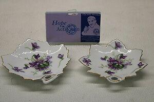 Rossetti Set of 2 Spring Violets Occupied Japan Maple Leaf Dishes