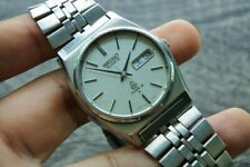 Vintage Type II Men Quartz Japan Made Watch 7546 7050 White Textured Dial 36mm