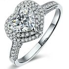 925 Sterling Silver Heart Crystal Stone Adjustable Ring Womens Girls Jewellery