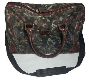 AMERICAN FLYER COLLECTION Travel Shoulder Bag Leather Floral Tapestry