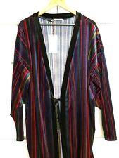 ZARA Velvet Kimono Stripe Wrap Dress Jacket Purple Red Black Sz M BNWT Boho