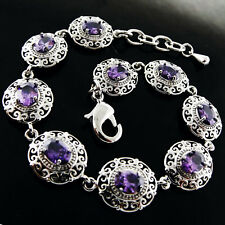 B110 GENUINE REAL 925 STERLING SILVER S/F ANTIQUE STYLE AMETHYST BRACELET BANGLE