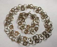 HM Sterling Silver Fancy Interlocking Loops Necklace Bracelet  Set T bar 113g