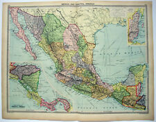 Large Original 1926 Map of Mexico & Central America by George Philip. Vintage