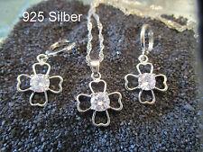 925 Silber-Schmuck Set- Klee Blatt- Kette, Anhänger, Creolen  Zirkon- Hochzeit,