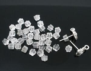 Clear Soft Rubber Flower Stoppers/Backs for Earrings, Stud Backs/Bullets/Nuts