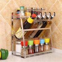 3 Layers Kitchen Spice Rack Stainless Steel Countertop Spice Jars Bottle Shelf