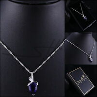 Schmuck-Kette Halskette *Purple Drop*, Weißgold pl., Swarovski Elements +Etui