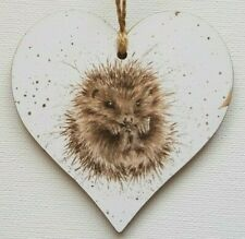 Handmade Wooden Hanging Heart Door Hanger Gorgeous Wrendale Hedgehog Print