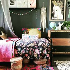 Hand Made Black Flower Cotton Reversible Kantha Quilt Bedspread Throw Home Decor