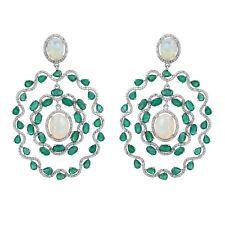 Emerald Gemstone Dangle Earrings Opal Diamond Pave 18K WHITE Gold Fine Jewelry