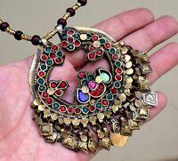 Afghan Kuchi Necklace Big Tribal Round Pendant Jewelry Boho Vintage Ethnic Dance