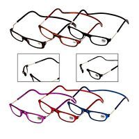 Folding Magnetic click reading glasses with neck strap and adjustable sides