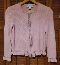 ST. JOHN Evening Womens Pink Sequins Studs Shimmer Crystal Zip Jacket Sz 4