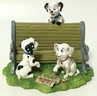 Walt Disney 101 Dalmatians Puppy Dog Paris Park Bench Resin Figurine