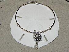New Vantel Pearls Silver Tone Mermaid Charm Bangal Bracelet 7.5mm White B1327