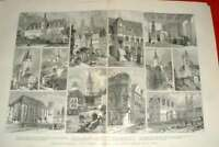 Original Old Antique Print Places Associated With Life Luther Germany 1883 19th