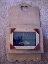 Old Wooden Army Soldier Key Rack Letter Holder Tank Airplane War Shadow Box