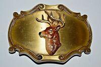 Nice Vintage 1978 Raintree DEER Head Hunter Hunting Brass Belt Buckle Rare