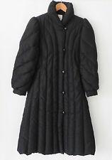 Vtg Saks Fifth Avenue Down Coat A-Line Black Mid-Calf Full Zip Size M