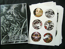 The Orient Style Tattoo Flash Notebook sketch Book Koi Skull Hannya Ghost Dragon