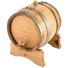 Oak Beverage Dispensing Barrel w/ Galvanized Steel Bands - 5 Liter - Liquor Beer