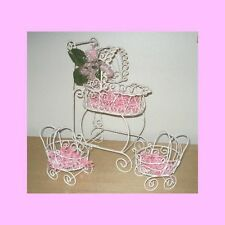 Wire Baby Carriages (Set of 3)  for Baby Shower Decorations -