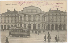 CPA RENNES - LE THEATRE - TRAMWAY CHOCOLAT MENIER