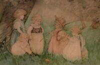Antique VICTORIAN Lithograph Print CHILDREN Girls Dog BIRD Deep Walnut Frame