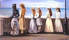 """tableau peinture huile """"Les filles du bord de mer"""""""