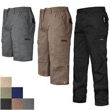 Mens 3/4 Shorts Plus Size Cargo Combat Zip Pockets Summer Gym Sports Beach Pants Charcoal Grey 6xl