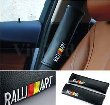 2Pcs Car Seats Belt Shoulder Pad Cushions Ralli Art Black Leather For Mitsubishi