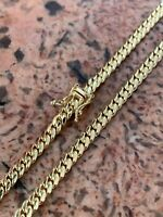 4mm Men's Real Solid 14k Yellow Gold Miami Cuban Link Chain Necklace 28-33 Grams