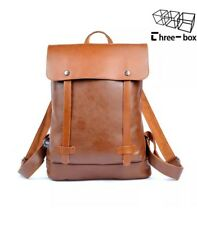 Three-Box PU Leather Travel Duffle Tote College Bag Backpack NWT Brown Cognac