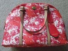 Authentic COACH domed leather satchel - abstract floral print - pink/red/white