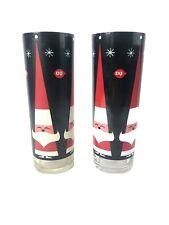 "Vintage Pair Libbey Holt Howard Christmas Tall Santa Two Glasses 5"" Mid century"