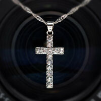Women Crystal Rhinestone Silver Plated Cross Pendant Necklace Chain Jewelry LD
