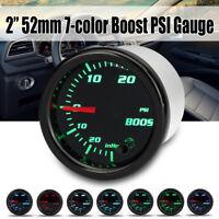 2'' 52mm Universal 7 Color LED PSI Turbo Boost Pressure Vacuum Gauge Car Meter