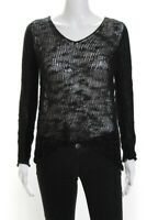 Helmut Lang Womens Long Sleeve Scoop Neck Knit Blouse Top Black Size S