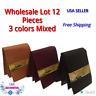 WHOLESALE LOT 12 MENS LEATHER WALLETS BIFOLD 3 colors black, beige, Brown or mix