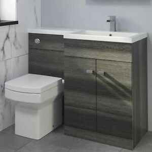 1100mm Bathroom Vanity Unit Basin & Square Toilet Combined Furniture R/Hand Grey