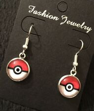 Pokeball Earrings Pokemon Go Super Fan Red White Pikachu Gift Cameo UK Silver