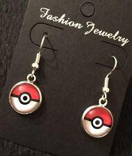 Pokeball Earrings Pokemon Go Super Fan Red White Pikachu Gift Cameo UK Silver